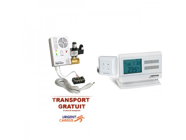 Pachet promo Termostat fara fir Computherm Q7RF+Detector de gaz metan Prevent 1279 cu electrovalva de 3/4